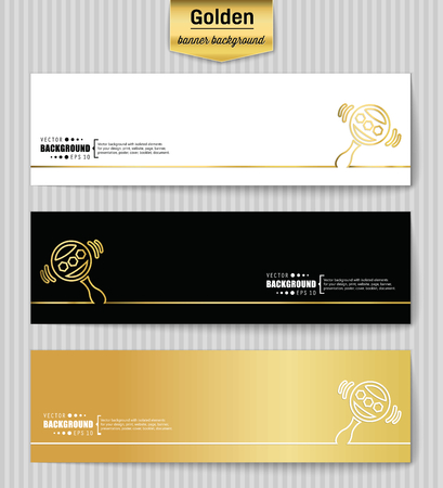 rattles: Abstract Creative concept gold vector background for Web and Mobile Applications, Illustration template design, business infographic, page, brochure, banner, presentation, poster, booklet, document. Illustration