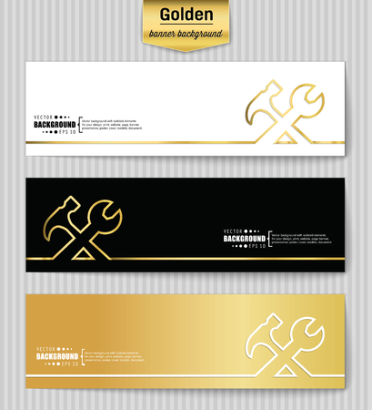 Abstract Creative concept gold vector background for Web and Mobile Applications, Illustration template design, business infographic, page, brochure, banner, presentation, poster, booklet, document. Vettoriali