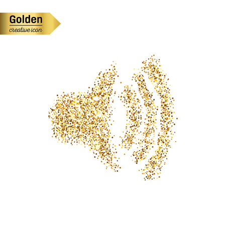 volume glow light: Gold glitter vector icon of volume isolated on background. Art creative concept illustration for web, glow light confetti, bright sequins, sparkle tinsel, abstract bling, shimmer dust, foil