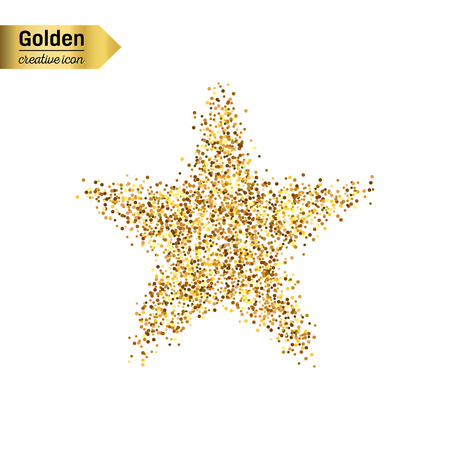 Goud glitter vector pictogram van ster geïsoleerd op de achtergrond. Kunst creatief concept illustratie voor het web, gloeien lichte confetti, heldere pailletten, sparkle klatergoud, abstracte bling, shimmer stof, folie Stock Illustratie
