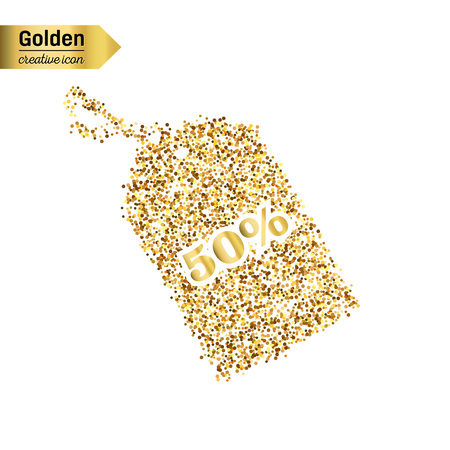 discounted: Gold glitter vector icon of tag discounted isolated on background. Art creative concept illustration for web, glow light confetti, bright sequins, sparkle tinsel, abstract bling, shimmer dust, foil