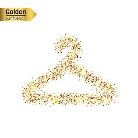 purchasing power: Gold glitter vector icon of hanger for clothes isolated on background. Art creative concept illustration for web, glow light confetti, bright sequins, sparkle tinsel, abstract bling, shimmer dust, foil