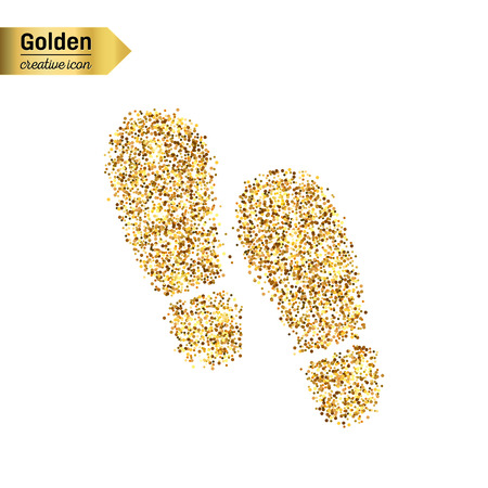 walk away: Gold glitter vector icon of footprint isolated on background. Art creative concept illustration for web, glow light confetti, bright sequins, sparkle tinsel, abstract bling, shimmer dust, foil