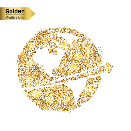 gold earth: Gold glitter vector icon of planet earth isolated on background. Art creative concept illustration for web, glow light confetti, bright sequins, sparkle tinsel, abstract bling, shimmer dust, foil Illustration