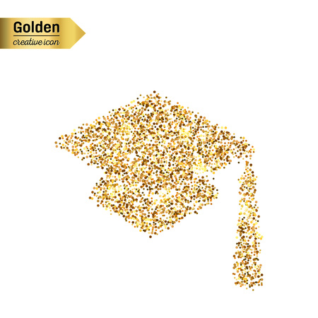 abstract academic: Gold glitter vector icon of square academic cap isolated on background. Art creative concept illustration for web, glow light confetti, bright sequins, sparkle tinsel, abstract bling, shimmer dust