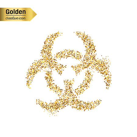 infectious waste: Gold glitter vector icon of Bio hazard isolated on background. Art creative concept illustration for web, glow light confetti, bright sequins, sparkle tinsel, abstract bling, shimmer dust, foil. Illustration