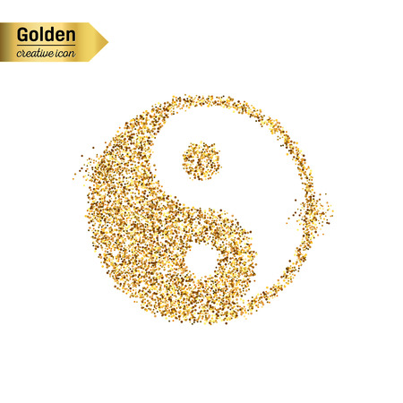 yan: Gold glitter vector icon of Yin Yang isolated on background. Art creative concept illustration for web, glow light confetti, bright sequins, sparkle tinsel, abstract bling, shimmer dust, foil.