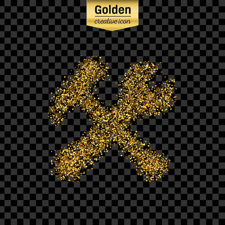 tooling: Gold glitter vector icon of tools isolated on background. Art creative concept illustration for web, glow light confetti, bright sequins, sparkle tinsel, abstract bling, shimmer dust, foil.