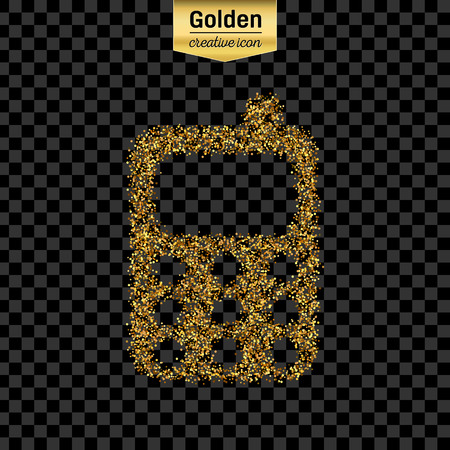 infographics touchscreen: Gold glitter vector icon of mobile phone isolated on background. Art creative concept illustration for web, glow light confetti, bright sequins, sparkle tinsel, abstract bling, shimmer dust, foil.