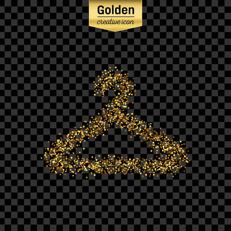 purchasing power: Gold glitter vector icon of hanger for clothes isolated on background. Art creative concept illustration for web, glow light confetti, bright sequins, sparkle tinsel, abstract bling, shimmer dust, foil.