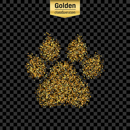 carbon footprint: Gold glitter vector icon of animal footprint isolated on background. Art creative concept illustration for web, glow light confetti, bright sequins, sparkle tinsel, abstract bling, shimmer dust, foil.