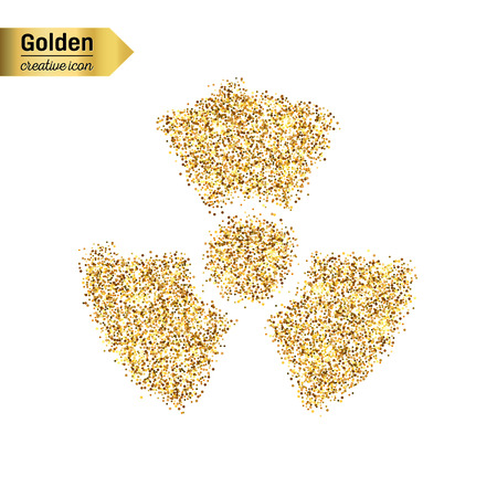 hazardous substances: Gold glitter vector icon of radioactively isolated on background. Art creative concept illustration for web, glow light confetti, bright sequins, sparkle tinsel, abstract bling, shimmer dust, foil.