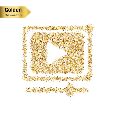 windows media video: Gold glitter vector icon of video player isolated on background. Art creative concept illustration for web, glow light confetti, bright sequins, sparkle tinsel, bling shimmer dust, foil. Illustration