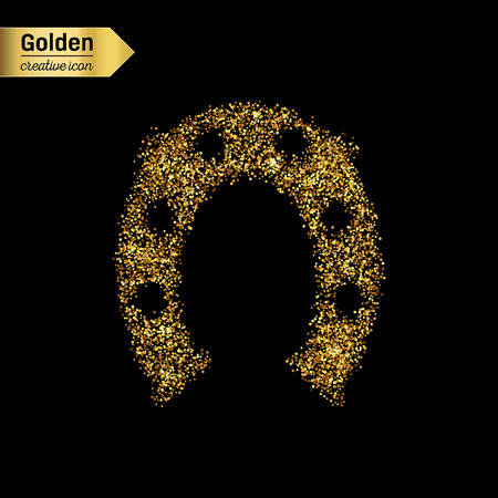 Gold glitter vector icon of hoof isolated on background. Art creative concept illustration for web, glow light confetti, bright sequins, sparkle tinsel, abstract bling, shimmer dust, foil. Vector Illustration