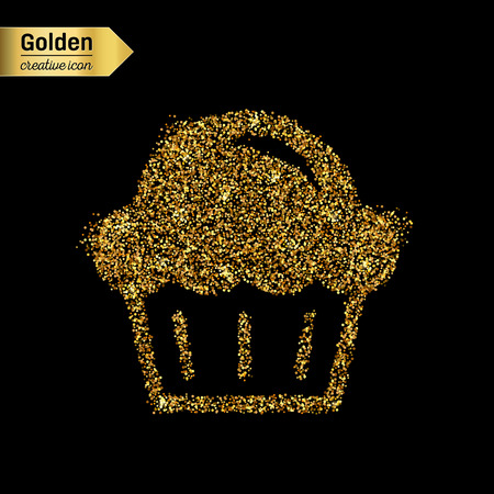 free illustration: Gold glitter vector icon of muffin isolated on background. Art creative concept illustration for web, glow light confetti, bright sequins, sparkle tinsel, abstract bling, shimmer dust, foil.