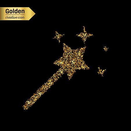 Het goud schittert vector icoon van de toverstaf geïsoleerd op de achtergrond. Art creatief concept illustratie voor het web, gloed licht confetti, helder lovertjes, fonkeling klatergoud, abstract bling, flikkering stof, folie.