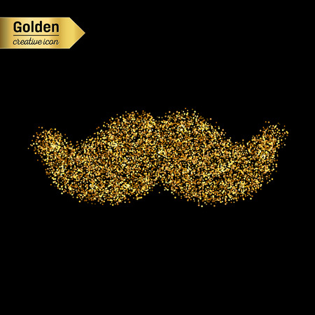 rogue: Gold glitter vector icon of mustache isolated on background. Art creative concept illustration for web, glow light confetti, bright sequins, sparkle tinsel, abstract bling, shimmer dust, foil.