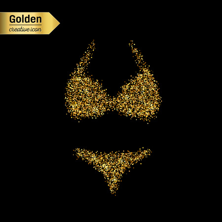 cowards: Gold glitter vector icon of swimsuit isolated on background. Art creative concept illustration for web, glow light confetti, bright sequins, sparkle tinsel, abstract bling, shimmer dust, foil. Illustration