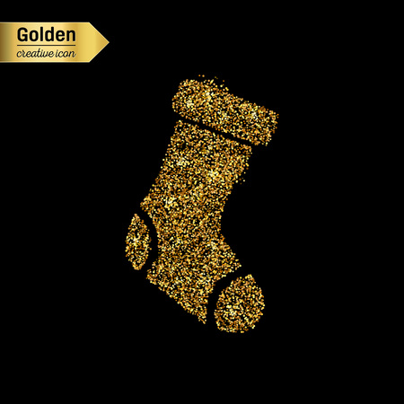hosiery: Gold glitter vector icon of sock isolated on background. Art creative concept illustration for web, glow light confetti, bright sequins, sparkle tinsel, abstract bling, shimmer dust, foil.