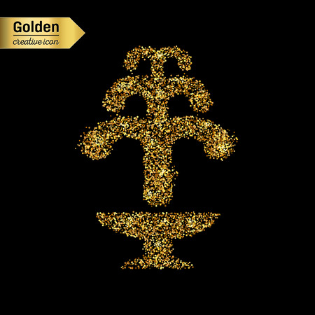 gush: Gold glitter vector icon of fountain isolated on background. Art creative concept illustration for web, glow light confetti, bright sequins, sparkle tinsel, abstract bling, shimmer dust, foil.