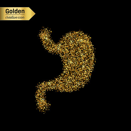 Gold glitter vector icon of stomach system isolated on background. Art creative concept illustration for web, glow light confetti, bright sequins, sparkle tinsel, abstract bling, shimmer dust, foil. Illustration