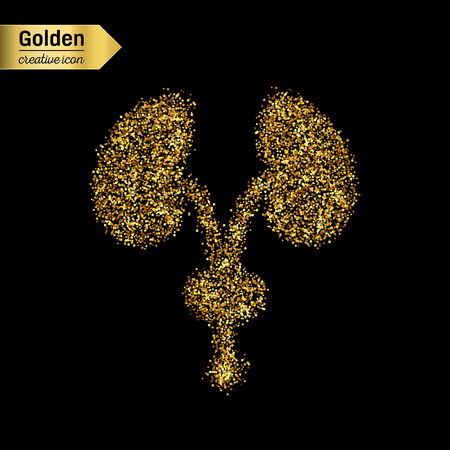 renal: Gold glitter vector icon of renal system isolated on background. Art creative concept illustration for web, glow light confetti, bright sequins, sparkle tinsel, abstract bling, shimmer dust, foil.