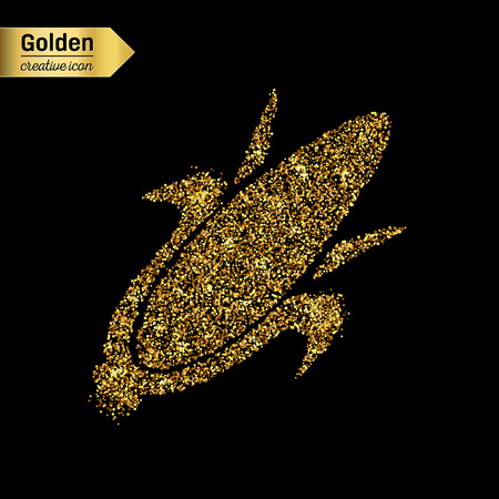 parmesan: Gold glitter vector icon of corn on the cob isolated on background. Art creative concept illustration for web, glow light confetti, bright sequins, sparkle tinsel, abstract bling, shimmer dust, foil. Illustration