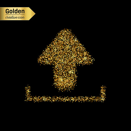 cool down: Gold glitter vector icon of download isolated on background. Art creative concept illustration for web, glow light confetti, bright sequins, sparkle tinsel, abstract bling, shimmer dust, foil. Illustration