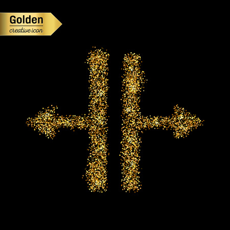 splitter: Gold glitter vector icon of Splitter isolated on background. Art creative concept illustration for web, glow light confetti, bright sequins, sparkle tinsel, abstract bling, shimmer dust, foil.