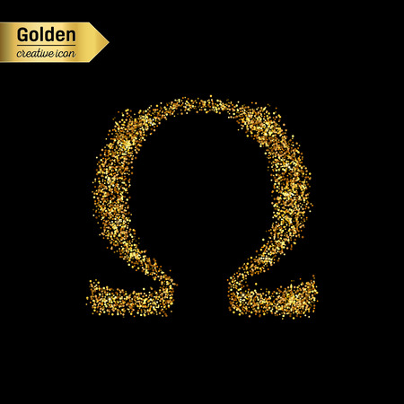 fraternity: Gold glitter vector icon of omega isolated on background. Art creative concept illustration for web, glow light confetti, bright sequins, sparkle tinsel, abstract bling, shimmer dust, foil.