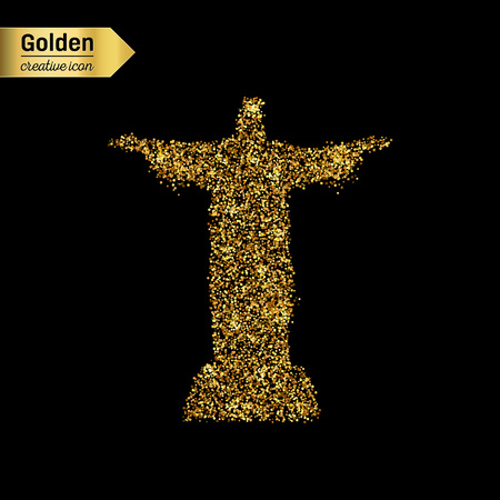 corcovado: Gold glitter vector icon of statue isolated on background. Art creative concept illustration for web, glow light confetti, bright sequins, sparkle tinsel, abstract bling, shimmer dust, foil.
