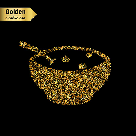 butternut squash: Gold glitter vector icon of soup isolated on background. Art creative concept illustration for web, glow light confetti, bright sequins, sparkle tinsel, abstract bling, shimmer dust, foil.