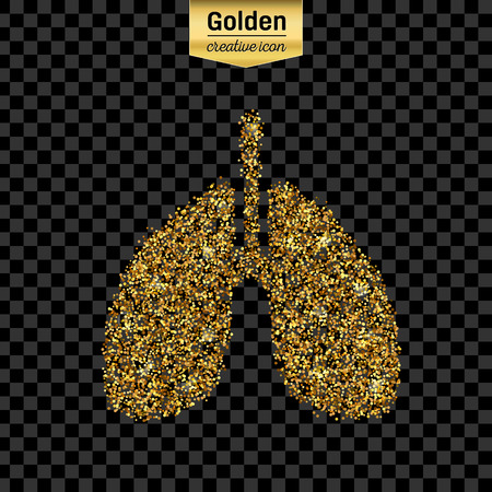 breath: Gold glitter vector icon of Breath isolated on background. Art creative concept illustration for web, glow light confetti, bright sequins, sparkle tinsel, abstract bling, shimmer dust, foil.
