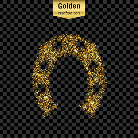 hoof: Gold glitter vector icon of hoof isolated on background. Art creative concept illustration for web, glow light confetti, bright sequins, sparkle tinsel, abstract bling, shimmer dust, foil. Illustration
