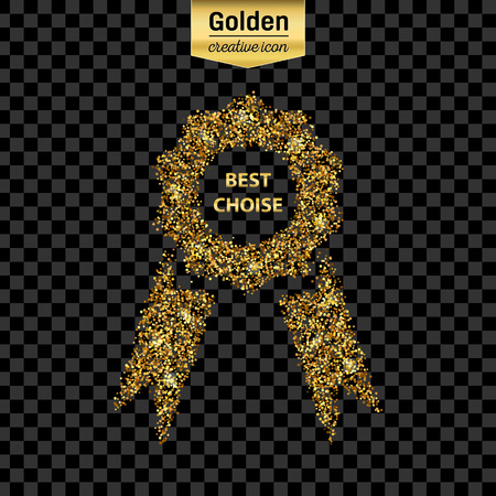 award background: Gold glitter vector icon of ribbons award isolated on background. Art creative concept illustration for web, glow light confetti, bright sequins, sparkle tinsel, abstract bling, shimmer dust, foil.