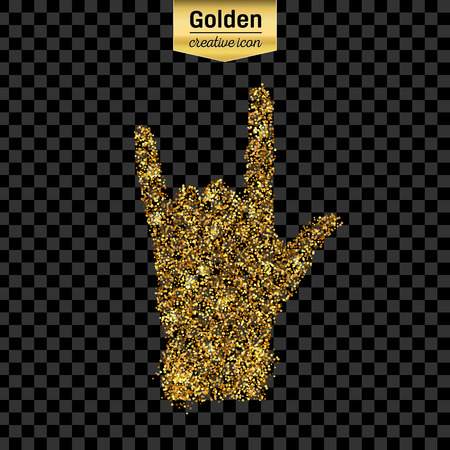 free hand: Gold glitter vector icon of hand rock isolated on background. Art creative concept illustration for web, glow light confetti, bright sequins, sparkle tinsel, abstract bling, shimmer dust, foil. Illustration