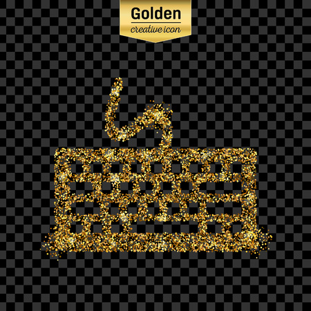 del: Gold glitter vector icon of keyboard isolated on background. Art creative concept illustration for web, glow light confetti, bright sequins, sparkle tinsel, abstract bling, shimmer dust, foil.