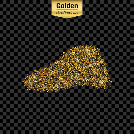 bile duct: Gold glitter vector icon of liver isolated on background. Art creative concept illustration for web, glow light confetti, bright sequins, sparkle tinsel, abstract bling, shimmer dust, foil. Illustration