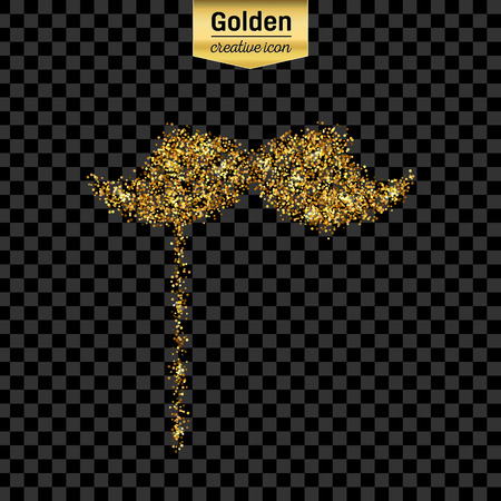 fake mask: Gold glitter vector icon of mustache isolated on background. Art creative concept illustration for web, glow light confetti, bright sequins, sparkle tinsel, abstract bling, shimmer dust, foil.