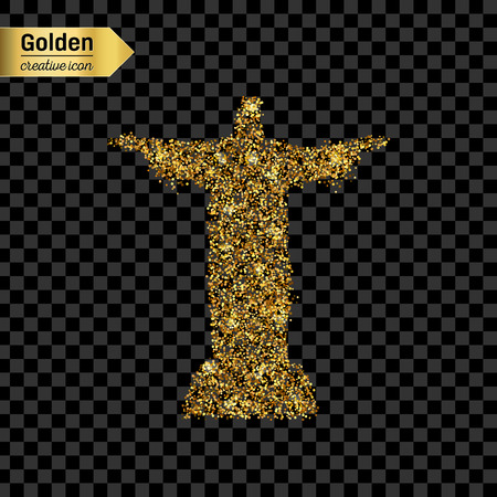 cristo: Gold glitter vector icon of statue isolated on background. Art creative concept illustration for web, glow light confetti, bright sequins, sparkle tinsel, abstract bling, shimmer dust, foil.