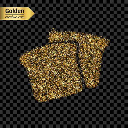 garlic bread: Gold glitter vector icon of bread isolated on background. Art creative concept illustration for web, glow light confetti, bright sequins, sparkle tinsel, abstract bling, shimmer dust, foil.