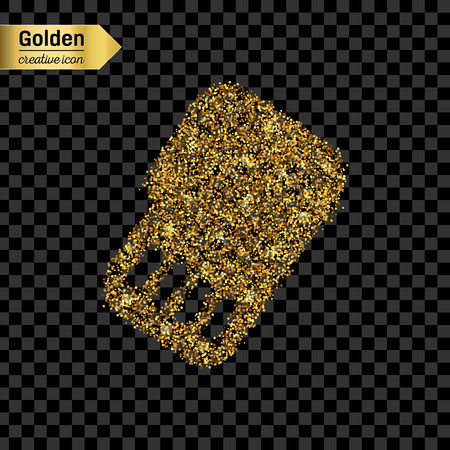 Gold glitter vector icon of sim card isolated on background. Art creative concept illustration for web, glow light confetti, bright sequins, sparkle tinsel, abstract bling, shimmer dust, foil. Illustration