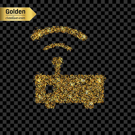 ethernet cable: Gold glitter vector icon of wifi router isolated on background. Art creative concept illustration for web, glow light confetti, bright sequins, sparkle tinsel, abstract bling, shimmer dust, foil.
