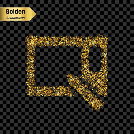wacom: Gold glitter vector icon of graphics tablet isolated on background. Art creative concept illustration for web, glow light confetti, bright sequins, sparkle tinsel, abstract bling, shimmer dust, foil. Illustration