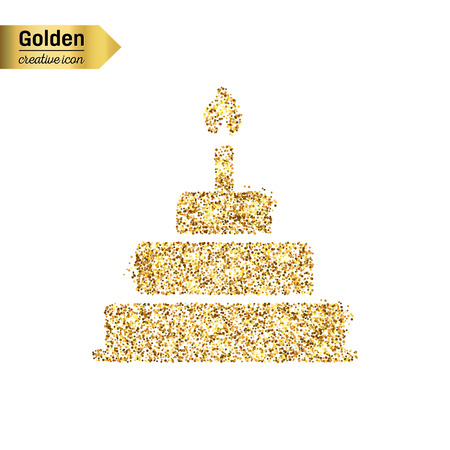 bright cake: Gold glitter vector icon of cake isolated on background. Art creative concept illustration for web, glow light confetti, bright sequins, sparkle tinsel, abstract bling, shimmer dust, foil.