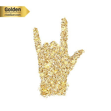 horn like: Gold glitter vector icon of hand rock isolated on background. Art creative concept illustration for web, glow light confetti, bright sequins, sparkle tinsel, abstract bling, shimmer dust, foil. Illustration