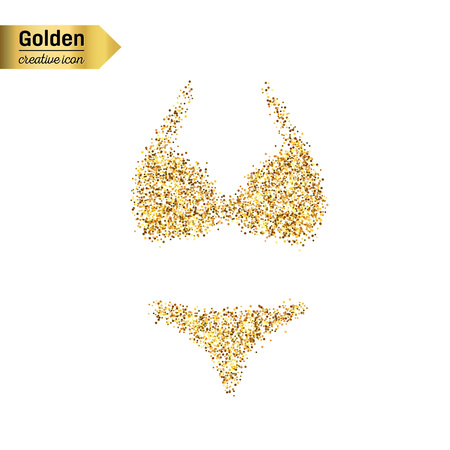 brassiere: Gold glitter vector icon of swimsuit isolated on background. Art creative concept illustration for web, glow light confetti, bright sequins, sparkle tinsel, abstract bling, shimmer dust, foil. Illustration