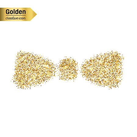 chequered ribbon: Gold glitter vector icon of bow tie isolated on background. Art creative concept illustration for web, glow light confetti, bright sequins, sparkle tinsel, abstract bling, shimmer dust, foil.