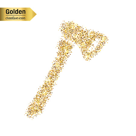pick ax: Gold glitter vector icon of axe isolated on background. Art creative concept illustration for web, glow light confetti, bright sequins, sparkle tinsel, abstract bling, shimmer dust, foil.