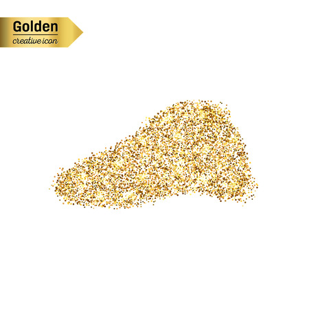 Gold glitter vector icon of liver isolated on background. Art creative concept illustration for web, glow light confetti, bright sequins, sparkle tinsel, abstract bling, shimmer dust, foil. Illustration